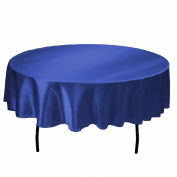LinenTablecloth 180cm Round Satin Tablecloth Royal Blue