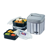 Lock & Lock Square Lunch Box 3-Piece Set with Insulated Stripe Bag, Grey