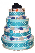 QBabyShowering Classic Blue 4 Tier Nappy Cake For Baby Boy Shower - Nappy Cake made out of 2 Onesies, 25 Pairs Of Newborn Socks, 6 Receiving Blankets, 105 Nappies