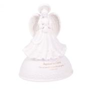 Baptised in Christ White Porcelain Musical Angel Figurine - Plays Tune Children's Prayer