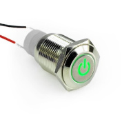 SMAKN® 16mm 12v Car Angel Eye GREEN Led Lighted Silver Metal Self-locking Stainless Steel Switch Latching Push Button