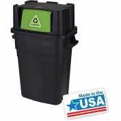 Stackable 113.6l garbage trash recycle bin with flap door