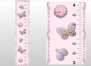 Growth Chart Butterfly Flower Ladybug Pink Purple Green Wall Decal Vinyl Sticker. Kids Height Measurement Charts Decals for Children's Nursery & Baby's Room Decor, Baby Walls Girls Bedroom Decorations. Child's Art Stickers Measure Growing Babies Keepsake