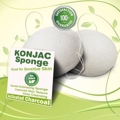 Gaia Konjac Bath Sponge 2 Pack - Healthy Alternative to Baby Washcloths - Completely Free of Harmful Chemicals Found in Other Bath Loofahs, Sponges or Pouffes - White