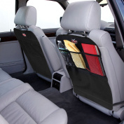 Kick Mats by AutoMuko™ With Organiser - Premium Thick Waterproof Quality Seat Back Protectors - Extra Long Size with Adjustable Straps - Car Seat Back Protectors (2 Pack) - With One-Year Limited Warranty