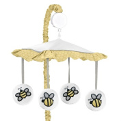 Yellow and White Musical Baby Crib Mobile for Honey Bumble Bee Collection