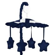 Zig Zag Navy and White Chevron Musical Baby Crib Mobile by Sweet Jojo Designs