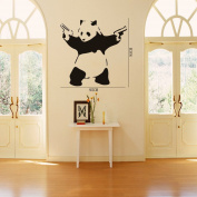 60cm X 120cm Large Cool Crazy Panda Gun Shooting Wall Stickers Decals DIY Removable Wall Mural Decor Graphic Lovely Silhouette Art for Baby Nursery Teen Girls Boys Kids Children Bedroom Living Room Decoration Olivia Black