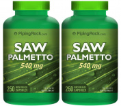 Piping Rock Saw Palmetto 450 mg 2 Bottles x 250 Capsules