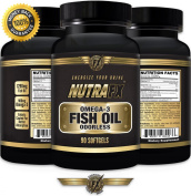 NUTRAFX Omega-3 Fish Oil 90 Soft-gels 1290 mg Per Serving Benefits Joint, Heart, Brain and Mood Control