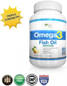 Omega 3 Lemon Flavoured Fish Oil Supplements - 120 High Potency, Triple Strength (650mg DHA + 860mg EPA Per Serving) 1300mg Essential Fatty Acids Softgels - Molecularly Distilled, PCB's, Heavy Metals and Toxins Free - 100% Premium and Natural Ingredien ..