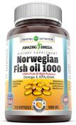 Amazing Omega Norwegian Fish Oil - 1000 Mg, 250 Softgels - Fresh Orange Flavour