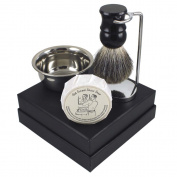 """Classic """"Old School"""" Shaving Gift Set with Chrome Stand, Stainless Shave Bowl & Badger Hair Brush"""