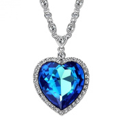 Neoglory Charm Ocean Titanic Heart Pendants Necklace with Blue Clear Crystal