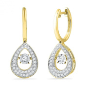 10KT Yellow Gold Round Diamond In Motion Fashion Earring