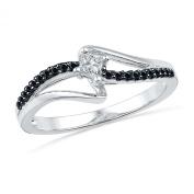 10KT White Gold Princess Round Diamond Black and White Promise Ring