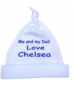 Me and my Dad Love Chelsea Baby Knotted Hat Newborn-12 months choice of 9 Colours