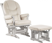 Ultramotion by Dutailier Sleigh Glider and Nursing Ottoman Combo with C Cushion, White/Light Beige