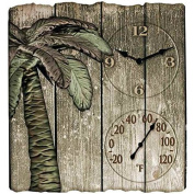 30cm x 33cm Palm Tree Poly Resin Clock with Thermometer