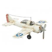 White Small Aeroplane War Plane Tin Classic Antique Finish New