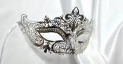 Royal Laser Cut Venetian Crown Metal Mask Masquerade W Rhinestones, Silver