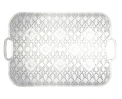 Party Essentials Hard Plastic 33cm X 48cm Rectangular Diamond Cut Serving Tray with Handles, Crystal Clear, Single Unit