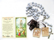 Blessed By the Pope Our Lady Fatima Rosary Holy Card and Brown Scapular