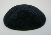 Black Suede Kippot with Embossed with Star of David Design Kippah, Yarmulkes for Jewish Events