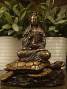Buddhist Goddess Kuan-yin (Guanyin) on Sea Turtle, Real Bronze Powder Cast Statue 15cm - 1.3cm