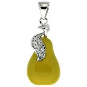 Sterling Silver Pear Charm for Bracelet, 15/16 in. (24mm) tall, Enamel Finish Fruit
