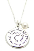 Sterling Silver Live The Life You've Dreamed Charm Necklace 46cm , Graduation Gift