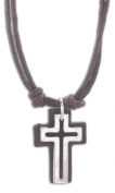 Cruz Accessories Open Cross with Leather Back on Double 41cm Cord Vintage Look Necklace