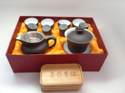 Gaiwan Tea Set with 15pcs with Gift Box Black and White