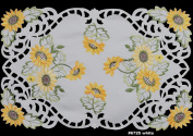 4PCS Embroidered Cutwork Sunflower Placemats 28cm x 43cm White, Set of 4 Pieces