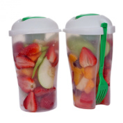 Fresh Salad Container Serving Cup Shaker with Dressing Container Fork - Bonus Recipes, Use This Bowl for Picnic, Lunch to Go, Made with High Quality Plastic Bottle - Eat Healthy -