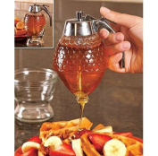 Norpro 1 Cup Glass Bee Hive Honey Syrup Dispenser Pot Jar with Trigger Stand