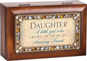 Daughter A Little Girl Jewelled Woodgrain Jewellery Music Box - Plays Tune You Light Up My Life
