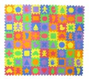 24 Unique Shapes Educational Foam Puzzle Floor Mat for Kids + 72 Pieces, 15cm x 15cm Squares Blocks, Covers 1.7sqm