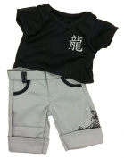 Black Tee and Tiger Pants Outfit Fits Most 36cm - 46cm Build-a-bear, Vermont Teddy Bears, and Make Your Own Stuffed Animals