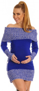 Happy Mama Women's Maternity Bardot Knitted Jumper Dress Pullover Sweater. 913p