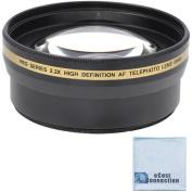 Pro series 58mm 2.2x High Definition AF Telephoto Lens + Microfiber Cloth For Nikon AF-S Nikkor 50mm 1.4G Autofocus Lens, AF-S Nikkor 50mm 1.8G, AF-S NIKKOR 55-300mm 4.5-5.6G ED VR Zoom, AF-S NIKKOR 55-300mm 4.5-5.6G ED VR Zoom and Other Models