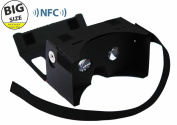 LARGER VERSION - Google Cardboard @ 45mm Focal Length Virtual Reality Google Cardboard with Printed Instructions and Easy to Follow Numbered Tabs - Perfect fit for Samsung Galaxy Note 2/Note 3, Iphone 6 Plus (WITH NFC and FREE HEAD-STRAP) Black