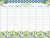 Green Flowers & Chevron Magnetic Weekly Calendar Pad