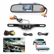 Backup Camera and Monitor Kit,Chuanganzhuo 11cm Car Vehicle Rearview Mirror Monitor for DVD/VCR/Car Reverse Camera + CMOS Rear-view Licence Plate Car Rear Backup Parking Camera With 7 LED Night Vision