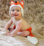 Cute Baby Unisex Newborn Girl Wool knitted Smart Fox Baby Outfits Costume Set