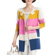 LOCOMO Colourful Multicoloured Stripe Striped Long Sleeve Pocket Cardigan FFJ031