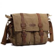 Kattee Vintage Leather Canvas Shoulder Messenger Bags School Satchel Bag