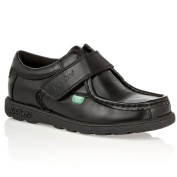 Kickers Boys (Infants) Fragma Strap Black Leather School Shoes
