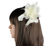 Cream Flower and Feather Fascinator on a Comb Ideal for the Races Wedding Prom