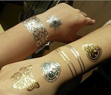 Gold Metal Art Tattoos for Poor and Hands - temporary One time Tattoos Set DK43